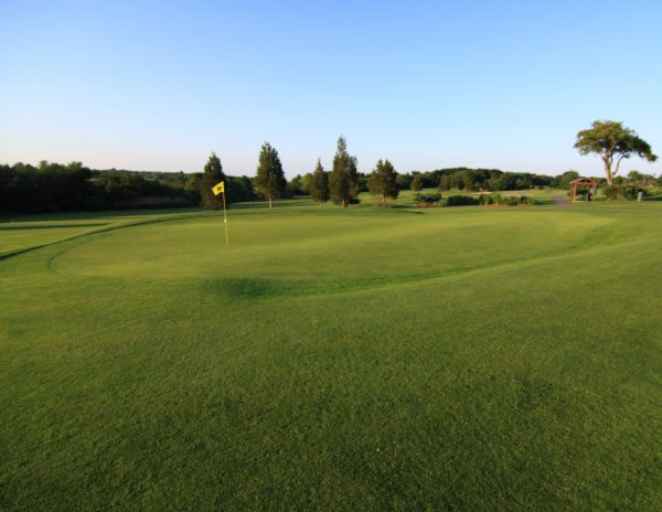 Wide Angle View of Hole 4 Green – lots of options as you approach the green area.