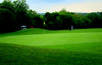 Hole 3 – rear view of green, slopes down to front right side of green.